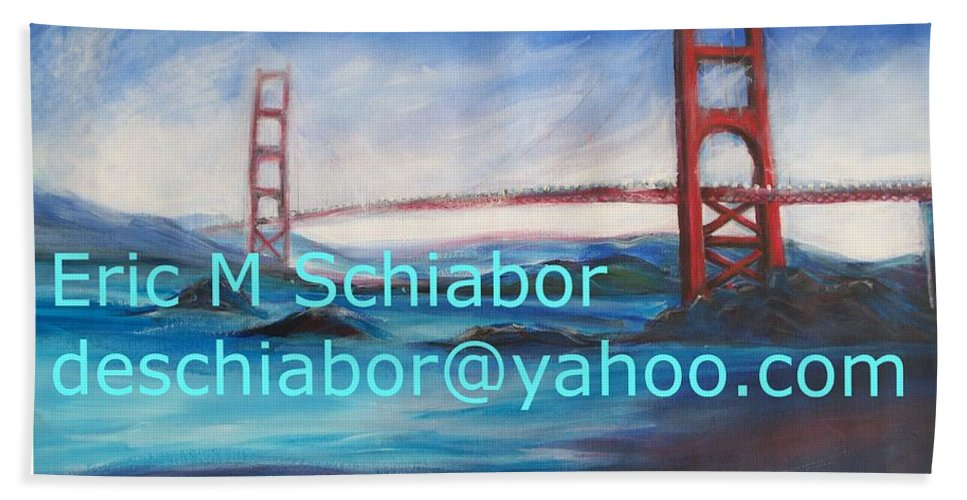 California Coast Beach Towel featuring the painting San Francisco Golden Gate Bridge by Eric Schiabor