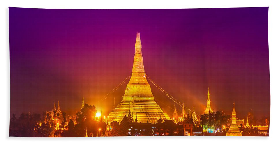 Ancient Beach Towel featuring the photograph Shwedagon Paya - Yangoon by Luciano Mortula