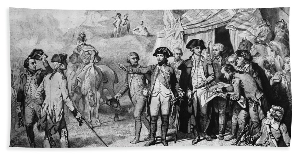 1781 Beach Towel featuring the photograph Siege Of Yorktown, 1781 by Granger