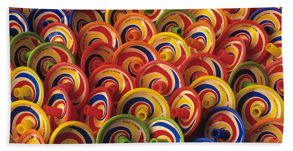 Childhood Beach Towel featuring the photograph Spinning Tops by Jim Corwin