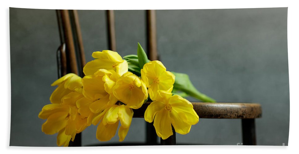 Tulip Beach Towel featuring the photograph Still Life With Yellow Tulips by Nailia Schwarz