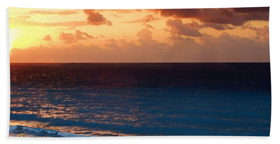 Tequila Sunrise Beach Towel featuring the painting Tequila Sunrise by Ellen Henneke