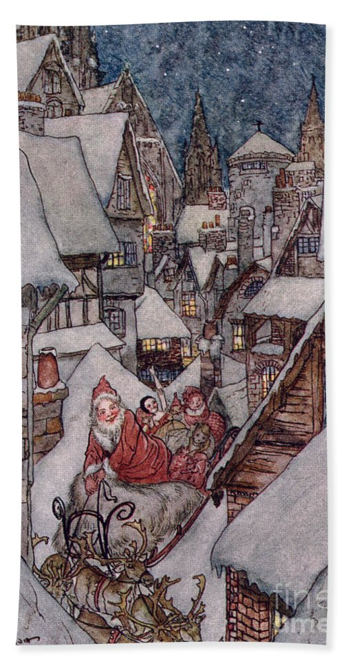 Christmas Illustrations Beach Towel featuring the drawing 'the Night Before Christmas by Arthur Rackham
