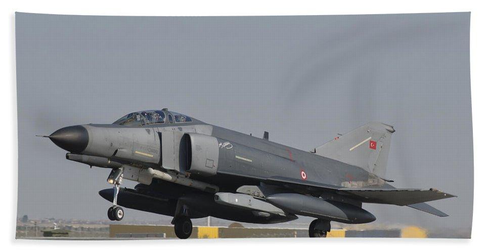 Horizontal Beach Towel featuring the photograph Turkish Air Force F-4 Phantom At Konya by Giovanni Colla