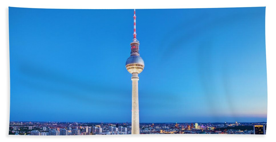 Berlin Beach Towel featuring the photograph Tv Tower Or Fersehturm In Berlin by Michal Bednarek