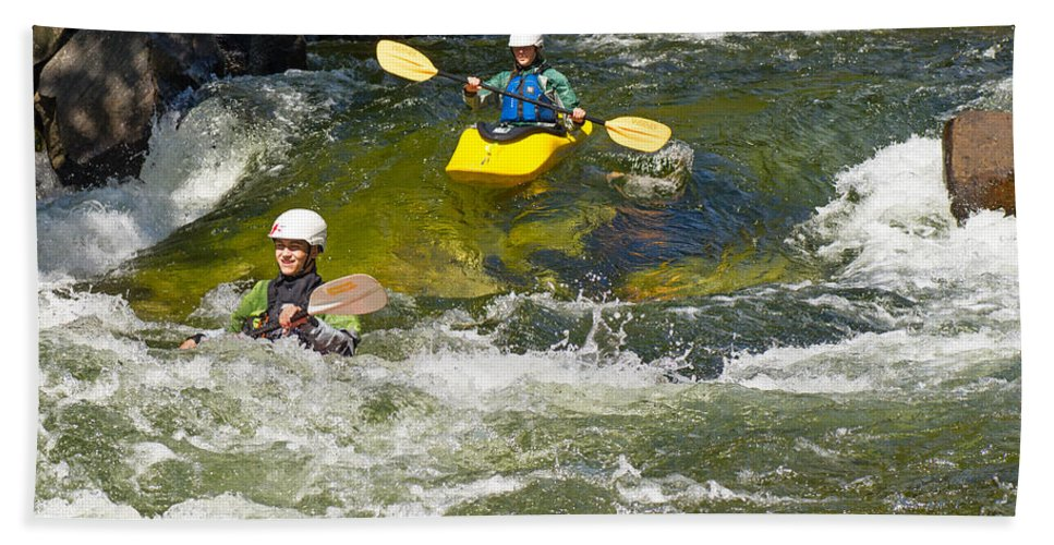 Kayak Beach Towel featuring the photograph Two Whitewater Kayaks by Les Palenik