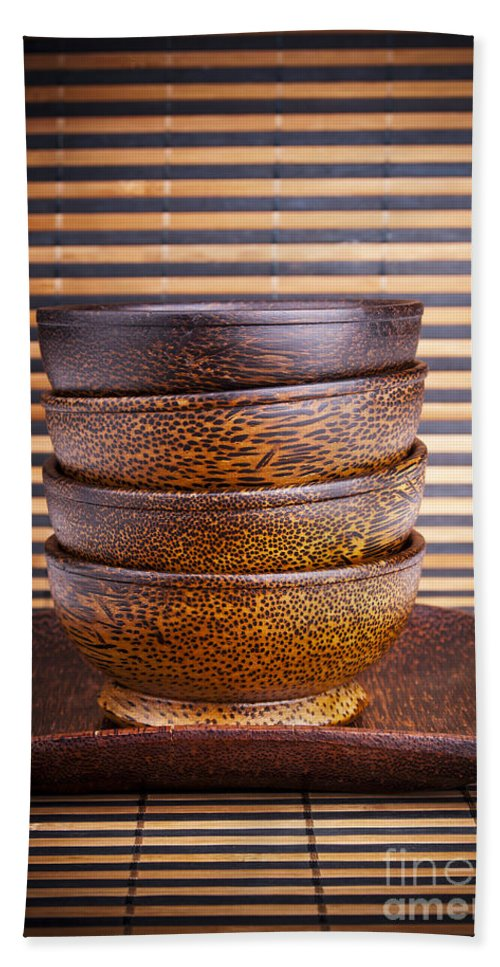 Bowl Beach Towel featuring the photograph Wooden Bowls by Tim Hester
