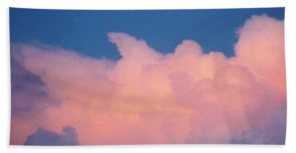 Pink And Blue Rain Clouds Building. Beach Towel featuring the photograph Sky Scape by Robert Floyd