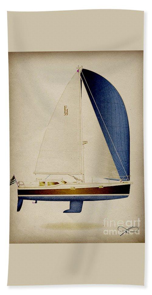 Regina Gallant Beach Towel featuring the drawing 39 Blue Spinnaker by Regina Marie Gallant