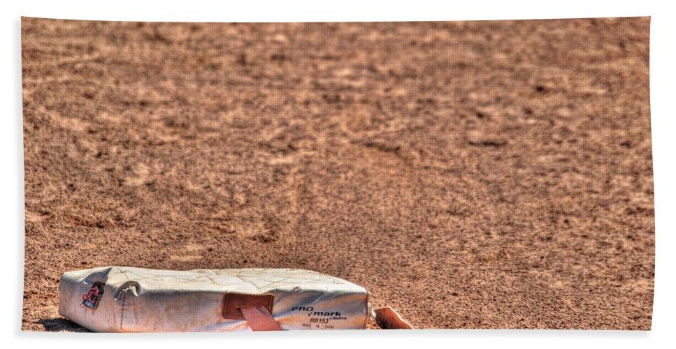 Baseball Beach Towel featuring the photograph 3rd Base by Michael Frank Jr