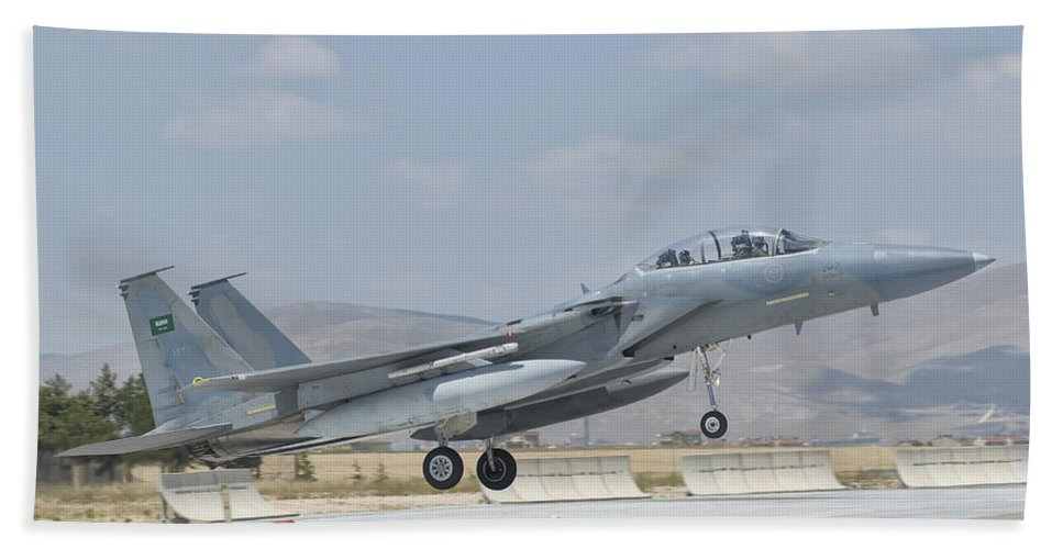 Horizontal Beach Towel featuring the photograph A Royal Saudi Air Force F-15 by Giovanni Colla