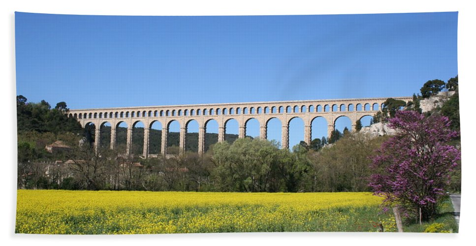 Aqueduct Beach Towel featuring the photograph Aqueduct Roquefavour by Christiane Schulze Art And Photography