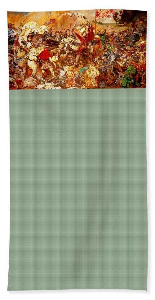 Henryk Beach Towel featuring the painting Battle Of Grunwald by Henryk Gorecki