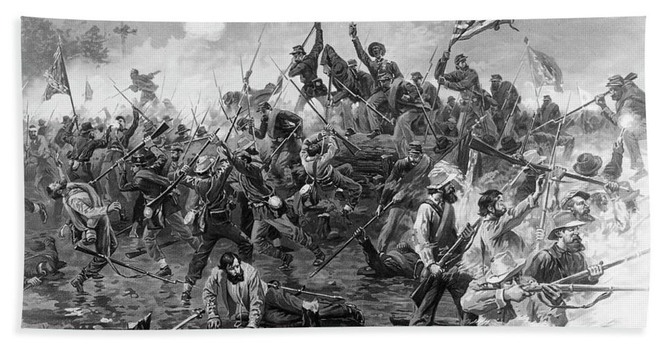 1864 Beach Towel featuring the painting Civil War Spotsylvania by Granger