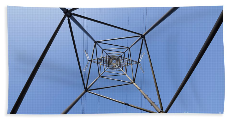 Electricity Pylon Beach Towel featuring the photograph Electricity Pylon by Mats Silvan