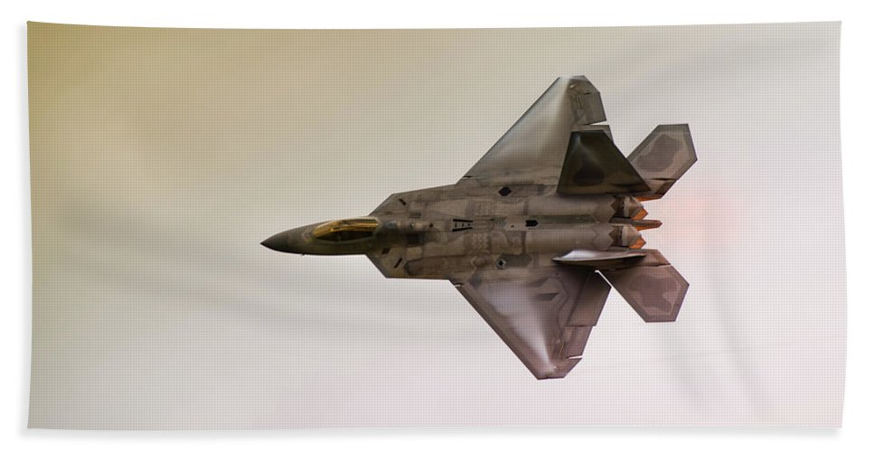 Airplane Beach Towel featuring the photograph F-22 Raptor by Sebastian Musial
