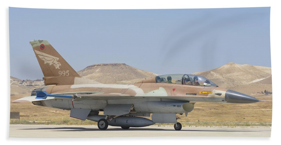 Horizontal Beach Towel featuring the photograph Israeli Air Force F-16 At Nevatim Air by Giovanni Colla