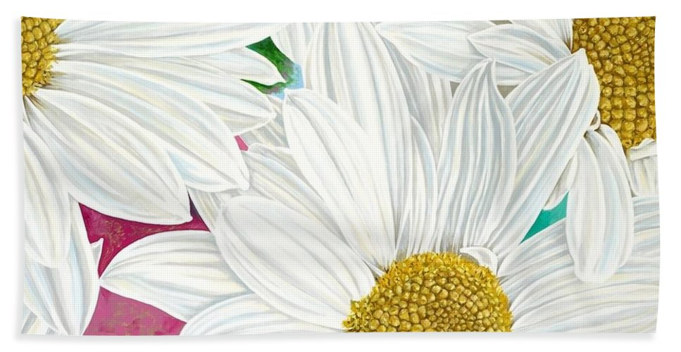 Yellow And White Flowers Beach Towel featuring the painting Julia by John Wilson