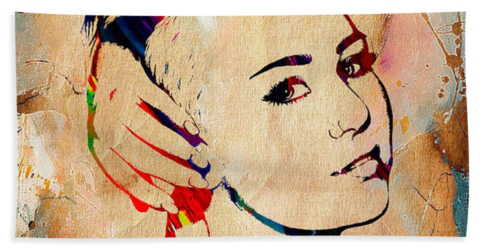 Miley Cyrus Beach Towel featuring the mixed media Miley Cyrus Collection by Marvin Blaine