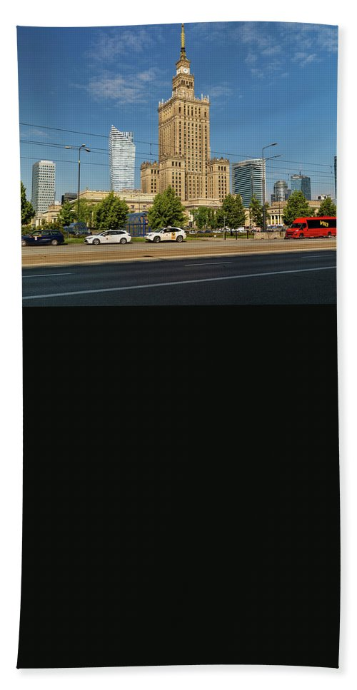 Warsaw Beach Towel featuring the photograph Palace Of Culture And Science In Warsaw by Artur Bogacki