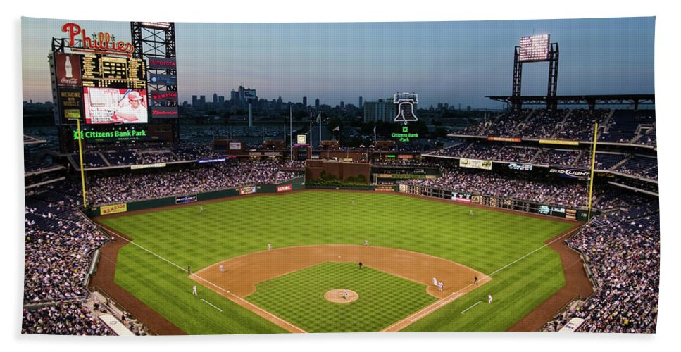 Photography Beach Towel featuring the photograph Panoramic View Of 29,183 Baseball Fans 4 by Panoramic Images