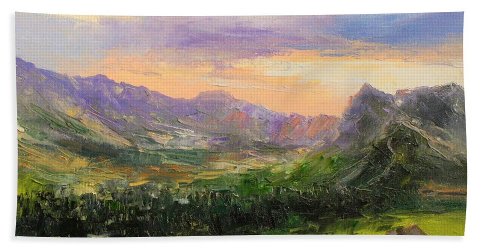 Polana Gasienicowa Beach Towel featuring the painting Tatry Mountains- Poland by Luke Karcz