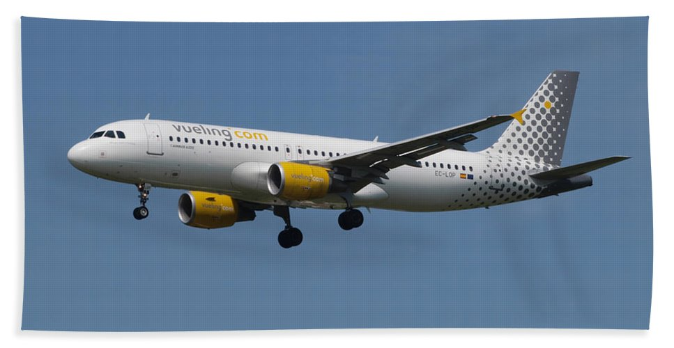 737 Beach Towel featuring the photograph Vueling Airbus A320 by Paul Fearn