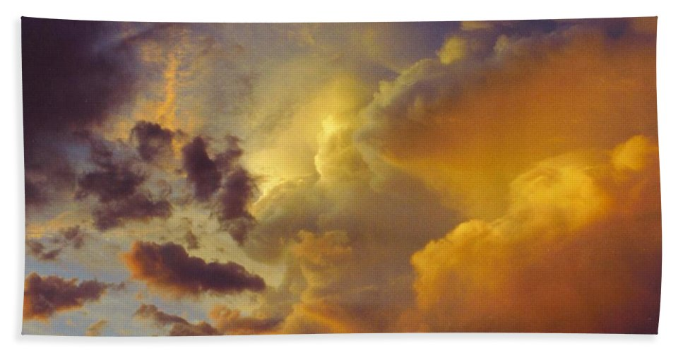 Rain Clouds Building. Beach Towel featuring the photograph Sky Scape by Robert Floyd