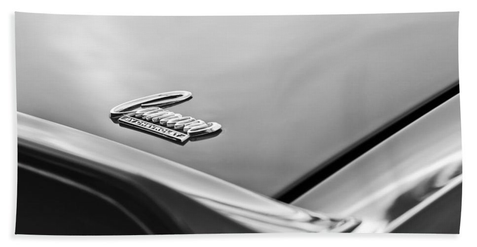 1969 Chevrolet Camaro Emblem Beach Towel featuring the photograph 1969 Chevrolet Camaro Emblem by Jill Reger