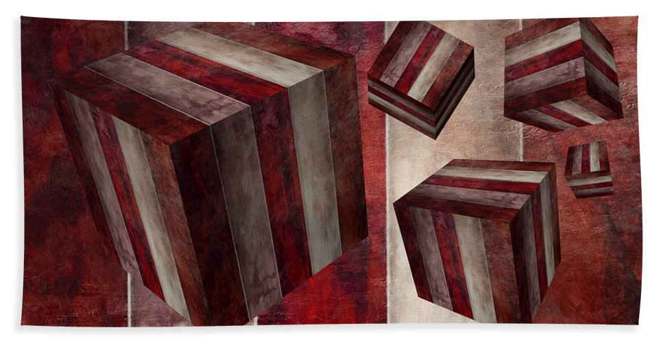Abstract Beach Towel featuring the digital art 5 Fire Cubed by Angelina Vick