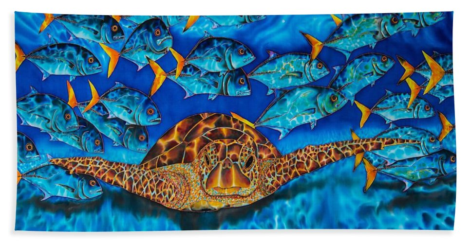 Sea Turtle Framed Prints Beach Towel featuring the painting Green Sea Turtle by Daniel Jean-Baptiste