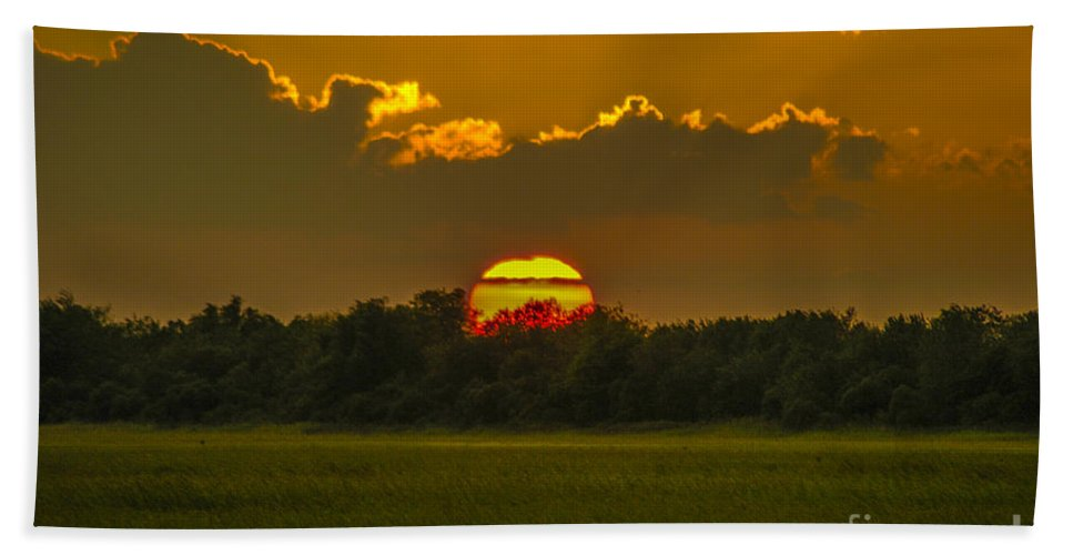 Sunset Beach Towel featuring the photograph Lowcountry Sunset Over The Marsh by Dale Powell