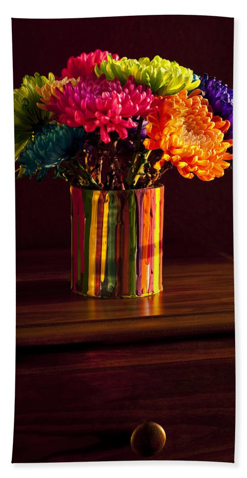 Art Beach Towel featuring the photograph Multicolored Chrysanthemums In Paint Can by Jim Corwin