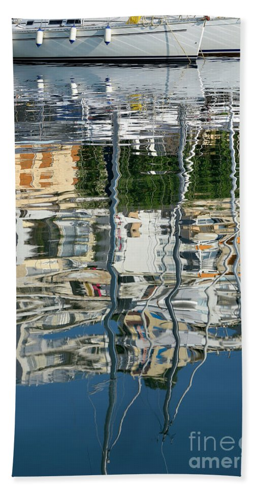 Mikrolimano Beach Towel featuring the photograph Reflections In Mikrolimano Port by George Atsametakis
