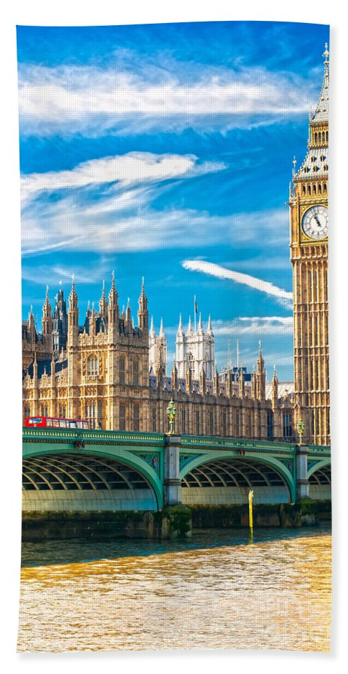 Architecture Beach Towel featuring the photograph The Big Ben - London by Luciano Mortula