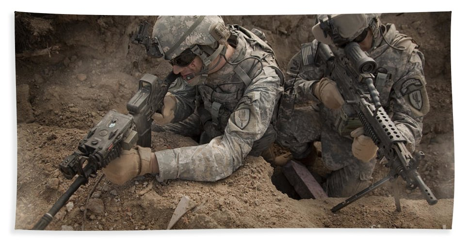 U s  Army Rangers In Afghanistan Combat Beach Towel