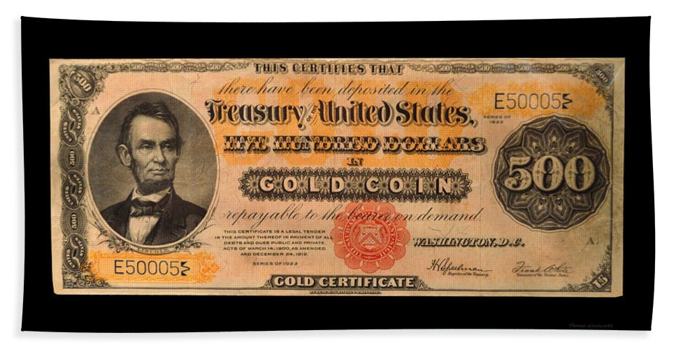 500 Dollar Us Currency Lincoln Gold Certificate Bill Beach Towel For