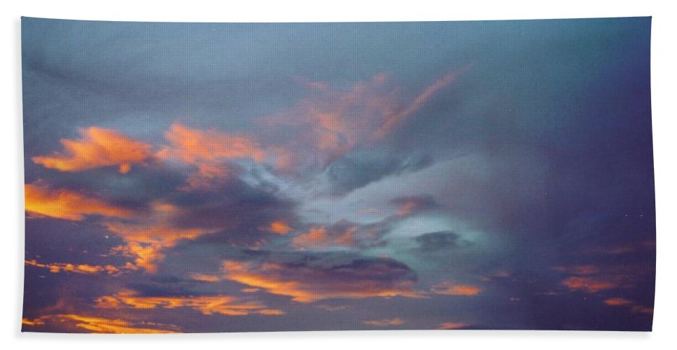 Red Puffy Rain Clouds Beach Towel featuring the photograph Sky Scape by Robert Floyd