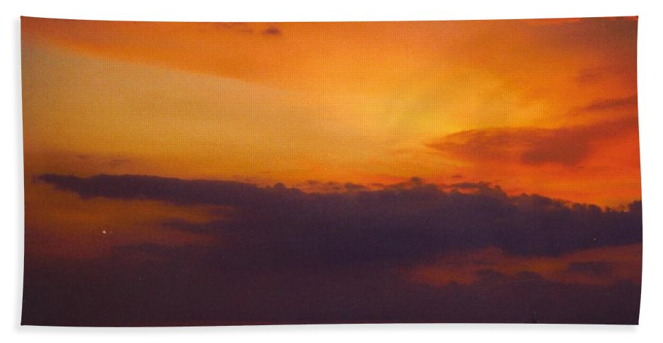 Last Coal Barge Returning From Power Plant On Caloosahatchee River In Ft.myers Beach Towel featuring the photograph Sky Scape by Robert Floyd