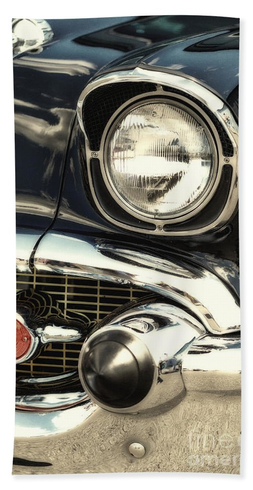 57 Chevy Beach Towel featuring the photograph 57 Chevy Headlight by Jerry Fornarotto