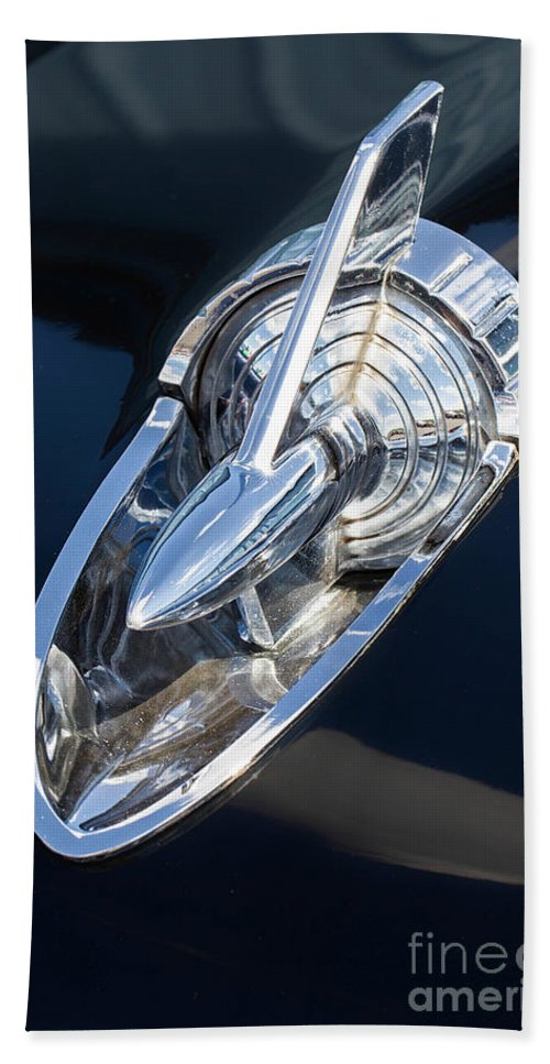 57 Chevy Beach Towel featuring the photograph 57 Chevy Hood Ornament by Jerry Fornarotto