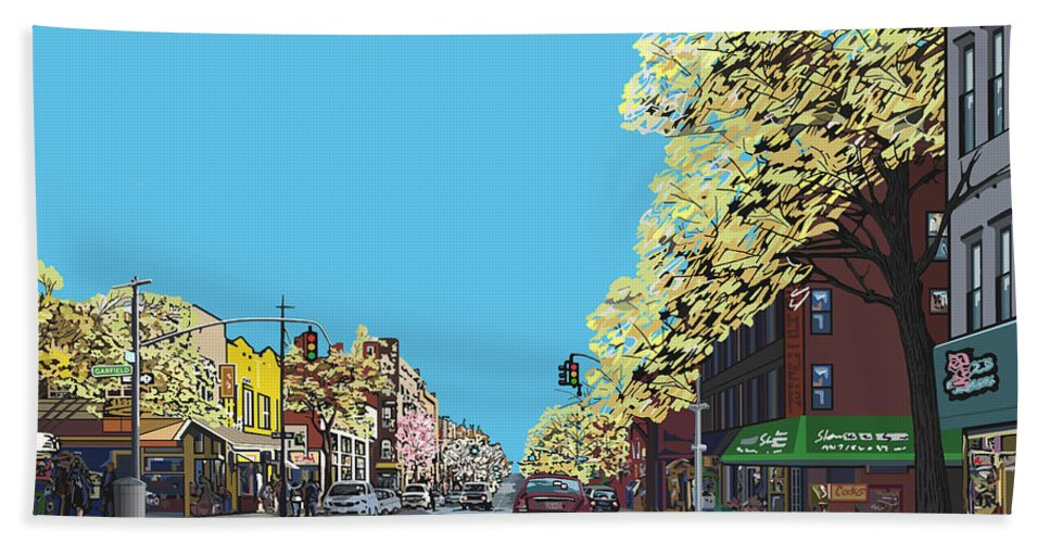 Landscape Beach Towel featuring the digital art 5th Ave And Garfield Park Slope Brooklyn by James Mingo
