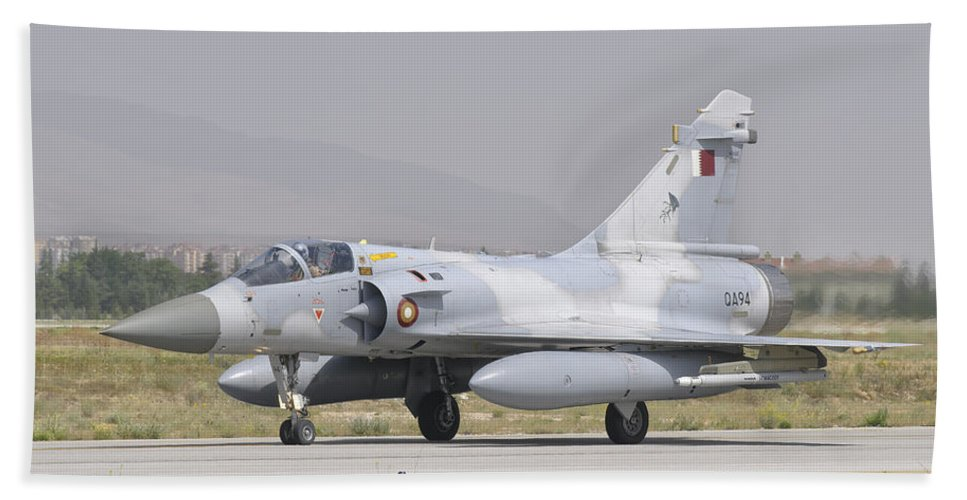 Horizontal Beach Towel featuring the photograph A Qatar Emiri Air Force Mirage 2000 by Giovanni Colla