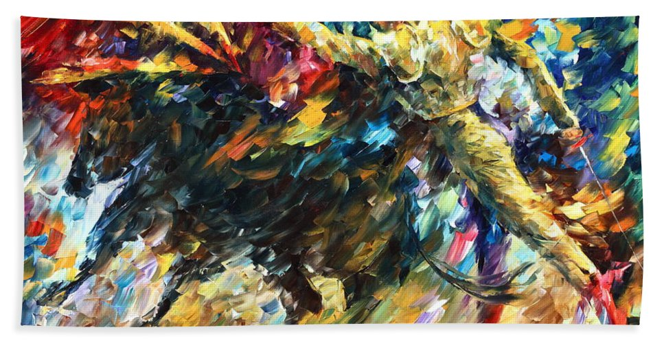 Bull Beach Towel featuring the painting Corrida by Leonid Afremov