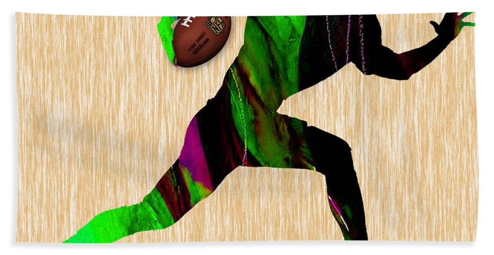 Football Beach Towel featuring the mixed media Football by Marvin Blaine