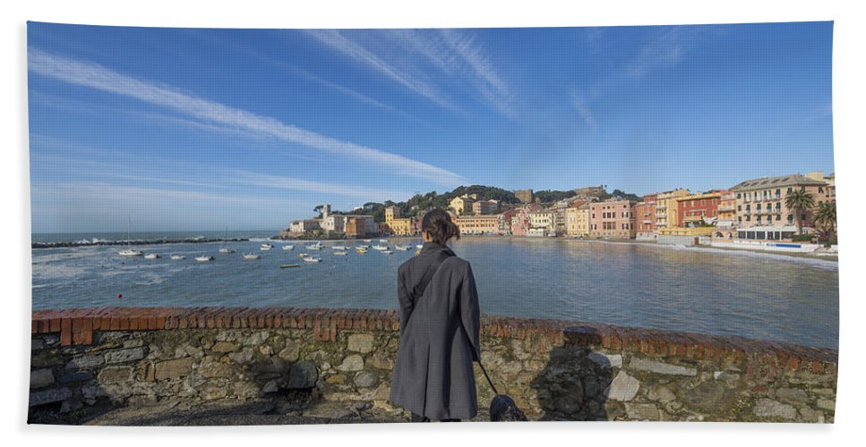 Village Beach Towel featuring the photograph Sestri Levante by Mats Silvan
