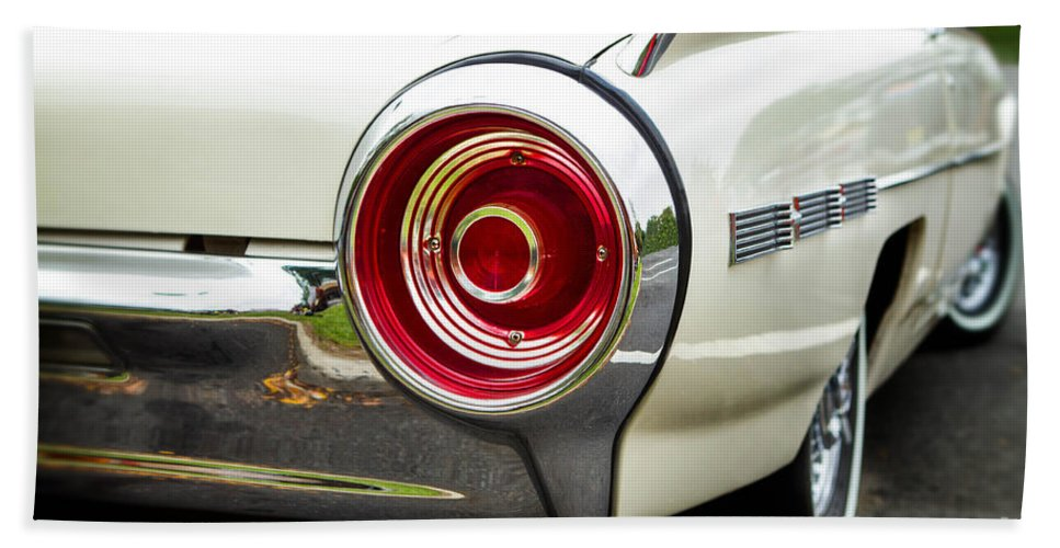 1962 Beach Towel featuring the photograph 62 Thunderbird Tail Light by Jerry Fornarotto