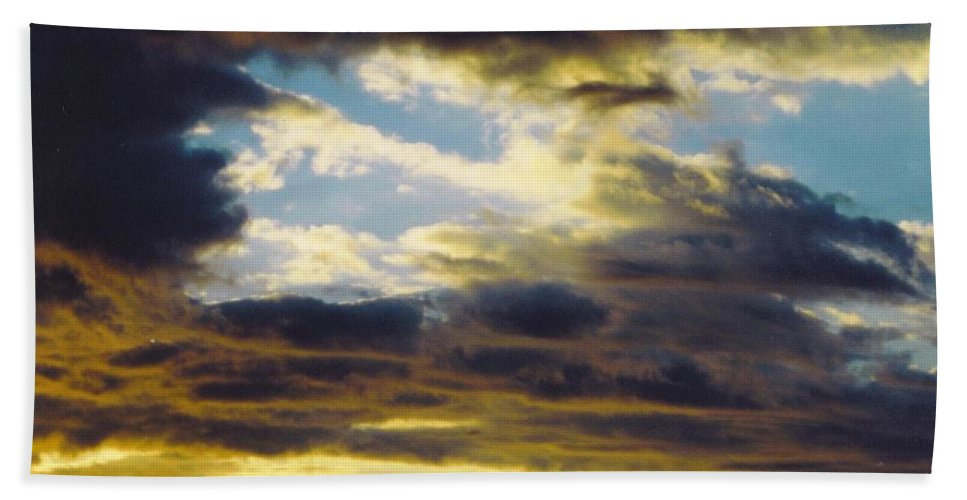 Dark Clouds Under Blue Skies At Sunset Beach Towel featuring the photograph Sky Scape by Robert Floyd