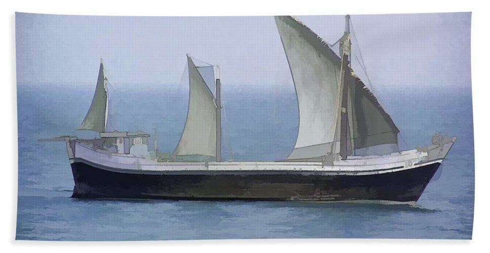 Action Beach Towel featuring the digital art Fishing Vessel In The Arabian Sea by Ashish Agarwal