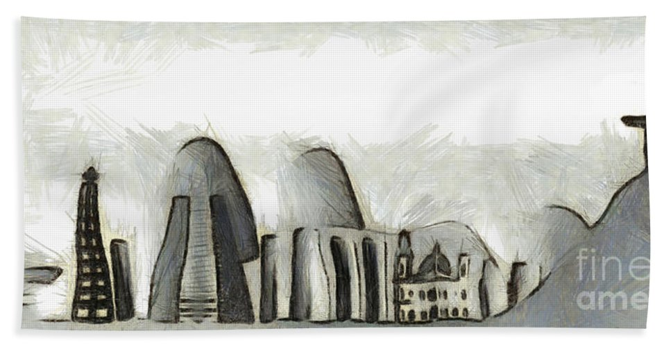 Brasil Beach Towel featuring the mixed media Rio De Janeiro Skyline by Michal Boubin